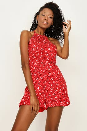 RED RED DITSY HALTER NECK PLAYSUIT