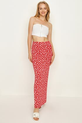 RED DITSY PRINT PULL ON MAXI SKIRT