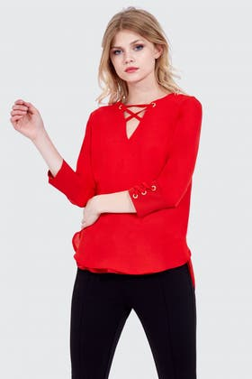 RED EYELET DETAIL WOVEN BLOUSE