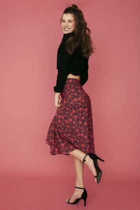 RED RED FLORAL RUFFLE MIDAXI SKIRT