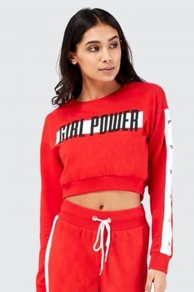 RED GIRL POWER POPPER CROP SWEATSHIRT