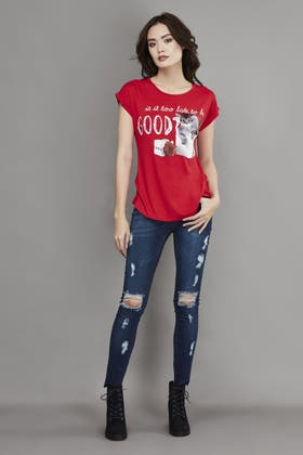 RED IS IT TOO LATE TO BE GOOD KITTY XMS TEE