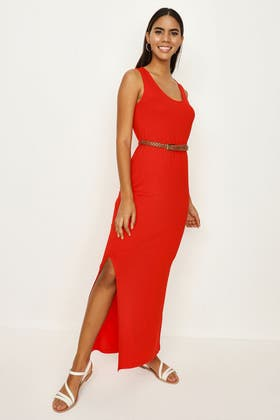 RED JERSEY VEST BELTED MAXI DRESS