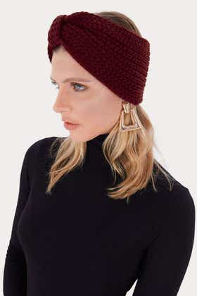 BERRY KNITTED BOW HEAD BAND