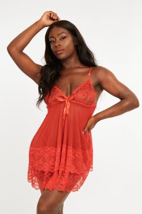 RED Lace Dress Nightwear Set