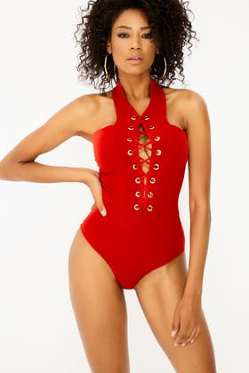 RED Lace Up Sleevless Bodysuit