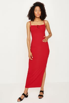 RED LATTICE DETAIL MAXI RIB DRESS