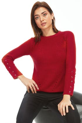 RED LONGLINE LACE UP SLEEVE JUMPER