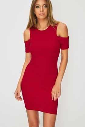 RED RIB COLD SHOULDER BODYCON DRESS