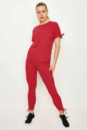 RED RUCHED OVERSIZED TEE & LEGGING SET