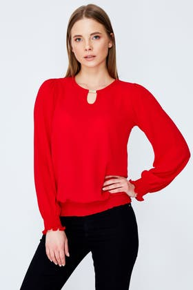 RED SHIRRED DETAIL WOVEN BLOUSE