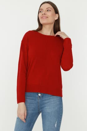 RED SOFT TOUCH CREW NECK JUMPER