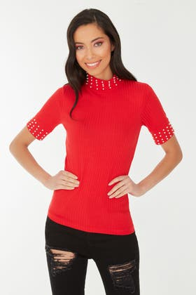 RED STATEMENT PEARL HIGH NECK TOP