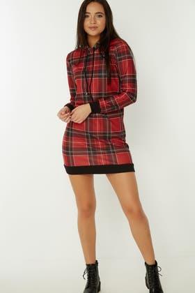 RED TARTAN HOODIE SWEAT DRESS