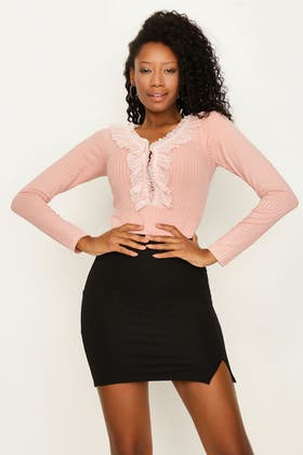ROSE CLOUD FRILL FRONT LONG SLEEVE BODY