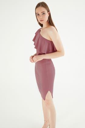 ROSE ONE SHOULDER FRILL DETAIL DRESS