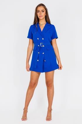 ROYAL BLUE Wrap Buckle detail Blazer Dress