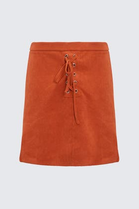 RUST Faux Suede Mini Skirt