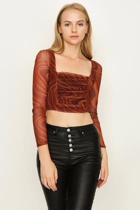 RUST RETRO SWIRL RUCHED FRONT MESH TOP