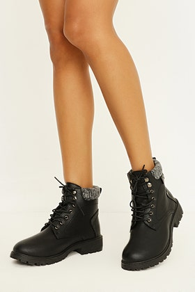 BLACK KNIT TOP HIKER ANKLE BOOT