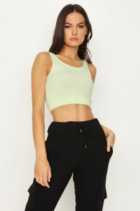 WASHED LIME BRALET CO-ORD CROP TOP