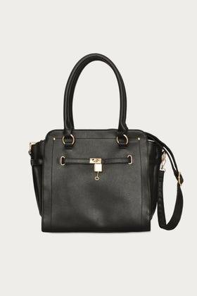 BLACK PADLOCK HANDHELD BAG