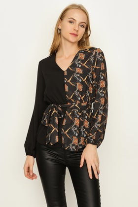 MULTI TIE FRONT PRINTED BLOUSE