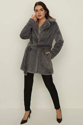 CHARCOAL PLUSH TEDDY LONG BELTED COAT