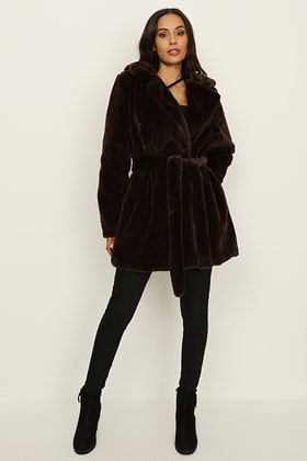 CHOCOLATE PLUSH TEDDY LONG BELTED COAT