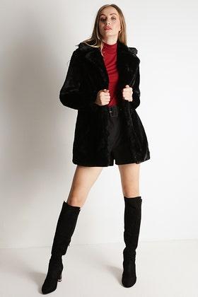 BLACK PLUSH TEDDY LONG COAT