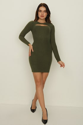 GREEN BRUSHED RIB CUT OUT BODYCON DRESS