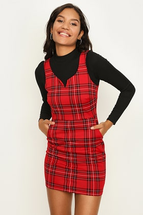 RED 2 IN 1 CHECK PINNY DRESS