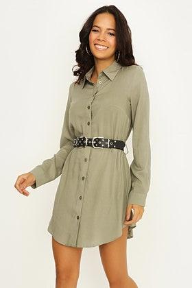 CEDAR GREEN PLAIN BELTED SHIRT DRESS