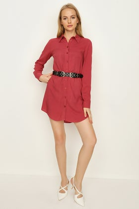 EARTH RED PLAIN BELTED SHIRT DRESS