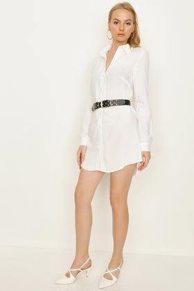 WHITE PLAIN BELTED SHIRT DRESS