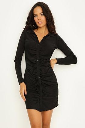 BLACK RUCHING DETAIL SHIRT DRESS