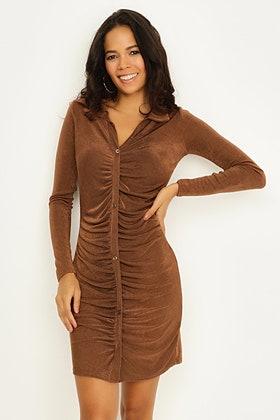 CHOCOLATE RUCHING DETAIL SHIRT DRESS