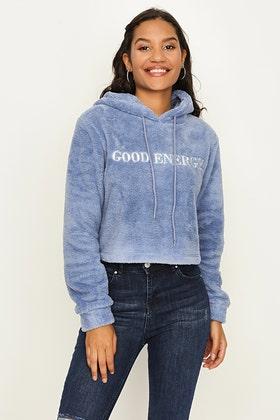 INFINITY BLUE GOOD ENERGY FAUX FUR HOODIE