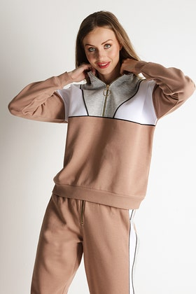 WARM TAUPE COLOUR BLOCK PIPED SWEAT