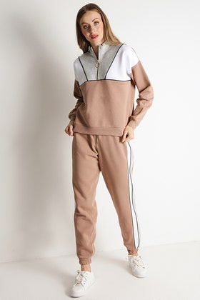 WARM TAUPE COLOUR BLOCK PIPED JOGGERS