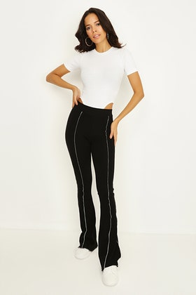 BLACK CONTRAST SEAM RIBBED FLARE JOGGERS