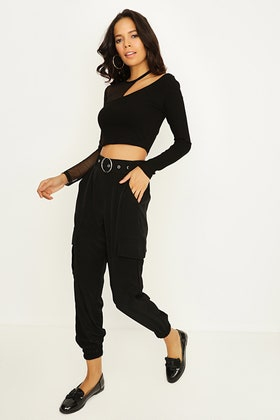 BLACK UTILITY BELTED CARGO TROUSERS
