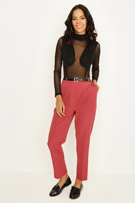 EARTH RED BELTED CIGARETTE TROUSERS