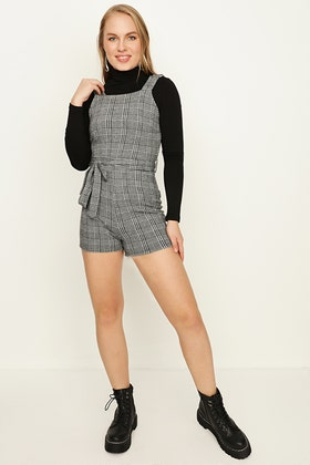 GREY CHECK BUCKLE STRAP PLAYSUIT