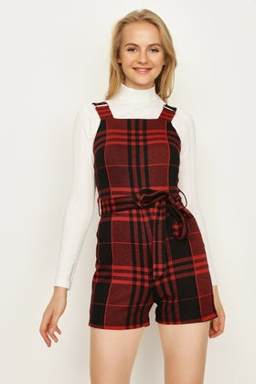 RED RED CHECK BUCKLE STRAP PLAYSUIT