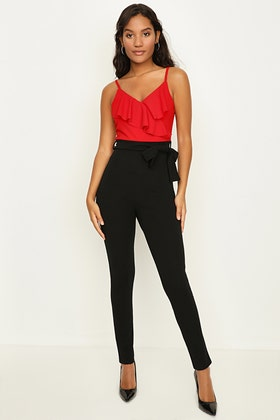 RED FRILL STRAPPY COLOUR BLOCK JUMPSUIT