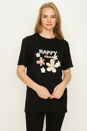 BLACK HAPPY VIBES 70'S FLOWER TEE