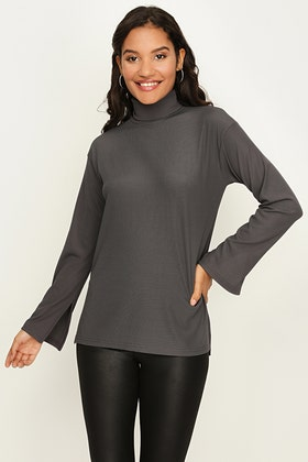 COAL RIBBED ROLL NECK OVERSIZED TOP