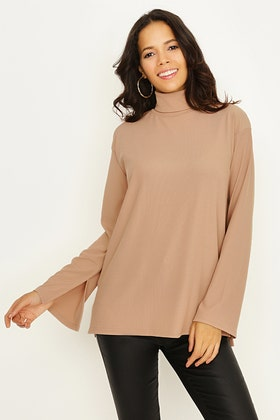 DARK SAND RIBBED ROLL NECK OVERSIZED TOP