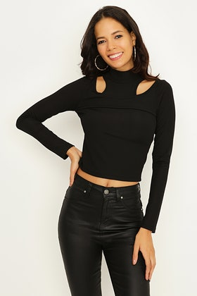 BLACK CUT OUT ROLL NECK TOP